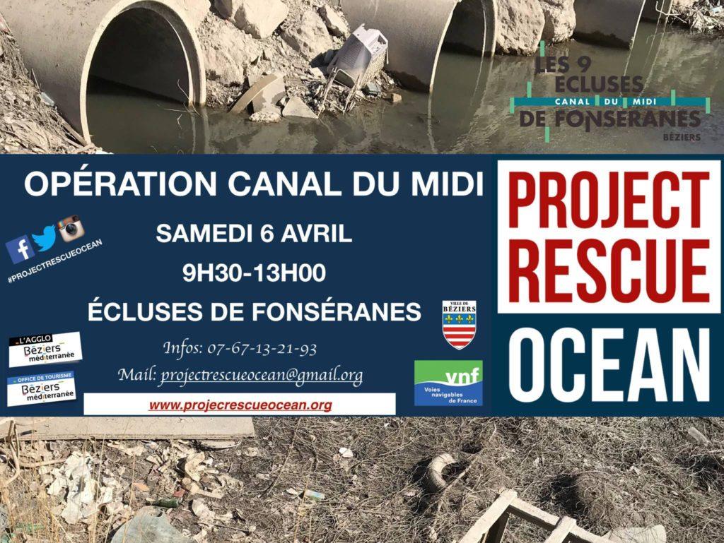 Nettoyage du Canal du Midi à Béziers organisé par Project Rescue Océan